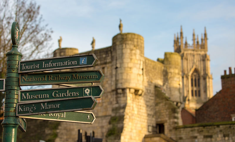 tourist information sign of places to visit in York