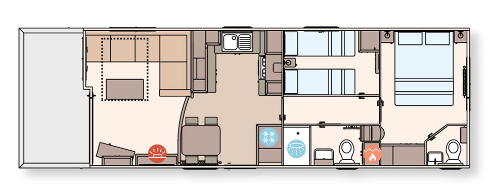 Floorplan 38ft x 12ft 2 bedroom ABI St David holiday home